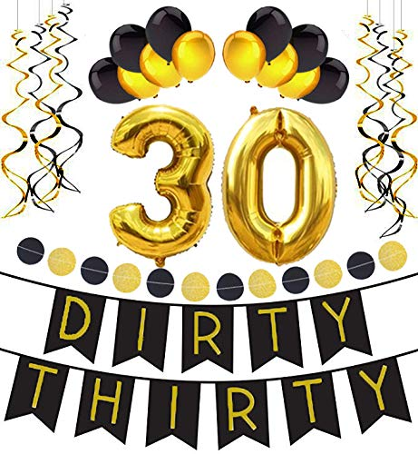 30th Birthday decorations kit By Tats4now | dirty thirty birthday party supplies, dirty 30 birthday party supplies kit including gold and black happy birthday banner and swirls and 30th birthday ballo
