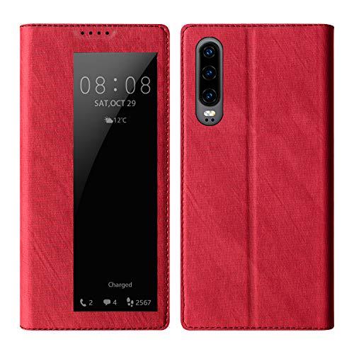 Huawei P30 Lite Leader Schutzhülle Smart View Flip Tasche case Magnetverschluss Standfunktion Dünne Robuste Silikon Handyhüllen für P30 Lite Nova 4e Wake Sleep Sichtfenster Klapphüllen (Red)