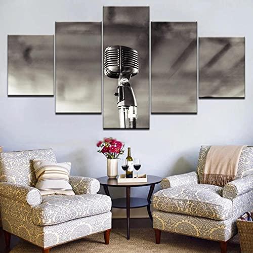 Arte sobre lienzomicrófono Cuadro en Lienzo Impresión de 5 Piezas Material Tejido no Tejido Impresión Artística Imagen Gráfica Decoracion de Pared Con marco ZTXZ 100x55cm