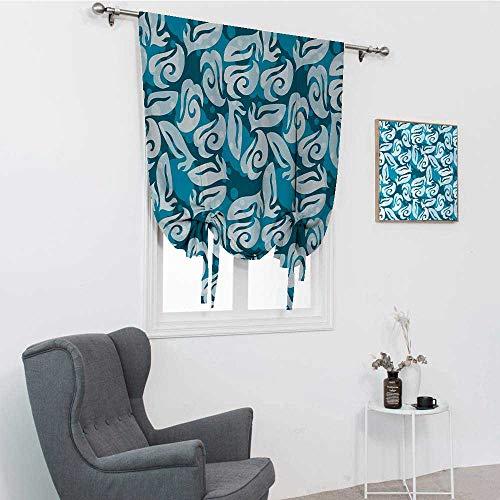 GugeABC Rideau assombrissant pour chambre - Formes abstraites classiques - Style shabby - Inspiration marine - Pour chambre - Occultation des tons romains - Bleu pétrole - Turquoise - 121,9 x 162,6 cm