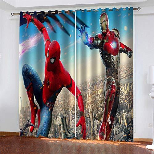 Vorhänge Blickdicht Spiderman Iron Man Kinder Vorhang Blickdicht Thermovorhang Verdunkelungsvorhänge mit Ösen für Wohnzimmer Schlafzimmer Kinderzimmer 2er Set B75x H166cm