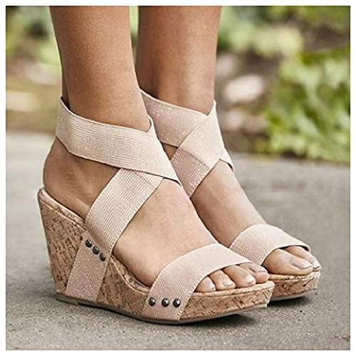 SHENGYAO Sandalias de cuña para Mujer, Sandalias de Plataforma con Punta Abierta Cruzada con Tiras para Fiesta, Boda, graduación, Zapatos de Corte de Talla Grande,Beige-36