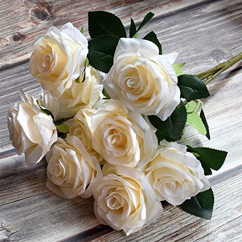 SOQHD Künstliche Blumen, gefälschte Blumen Silk künstliche Rosen 10 Köpfe Braut Hochzeit Blumenstrauß for Hausgarten-Partei-Hochzeit Dekoration (Color : Beige)