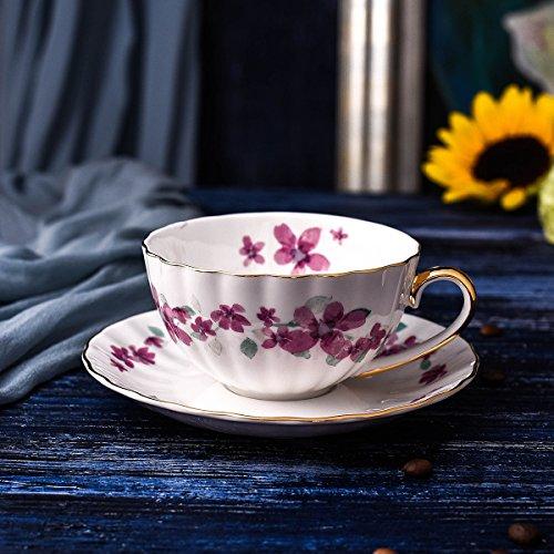 GGsmd Koffie kop en schotel koffie set eenvoudige gouden grens Bone China business cup en schotel,Roze kersenbloesem