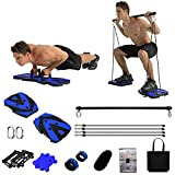 Portable Home Gym Equipment with Resistance Bands, Ab Roller Wheel Pulleys and Pilates Bar, Full Body Workout Exercise Equipment for Indoor Outdoor Travel to Build Muscle and Burn Fat Men Women