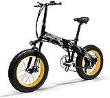 LANKELEISI X2000 20 pulgadas de grasa bicicleta plegable e-bike 7 velocidad nieve bicicleta 48V 12.8ah 1000W motor aluminio aleación marco 5 PAS mountain bike (amarillo)
