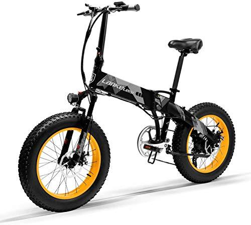 LANKELEISI X200020-inch bicicleta de grasa plegable e-bike 7 velocidad nieve bicicleta 48V 10.4ah 500W motor aleación de aluminio marco 5 PAS bicicleta de montaña (amarillo)