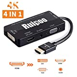 Adaptateur HDMI 4K UHD Convertisseur HDMI Actif Mutiports 4 En 1 HDMI vers HDMI DVI...