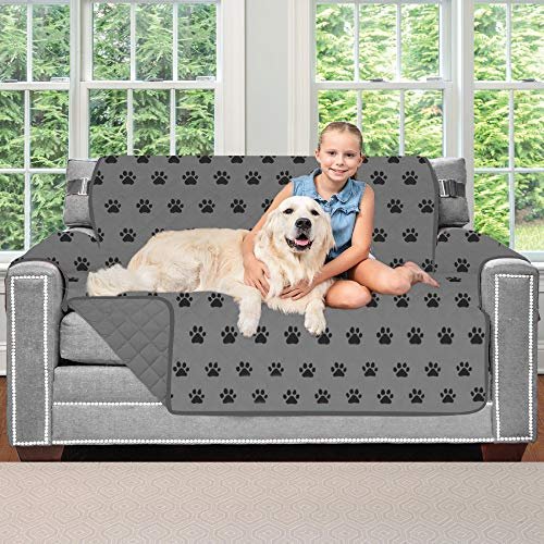 Sofa Shield Original Patent Pending Reversible Loveseat Protector for Seat Width up to 54 Inch, Furniture Slipcover, 2 Inch Strap, Couch Slip Cover Throw for Pets, Dogs, Love Seat, Paw Gray Black