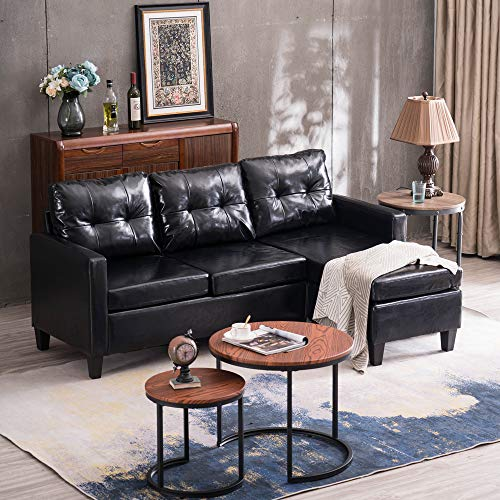 SSLine Reversible Sectional Sofa Couch with Chaise Modern Convertible 3-Seat Sofa Set L-Shape Corner Sofa for Living Room Upholstered Faux Leather Couches w/Ottoman for Apartment Dorm Small Space