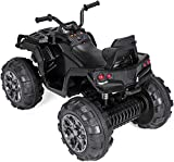 Swvzwy Kids Four Wheeler Electric,ATV Double Drive Children Car with 45W12 12V7AH1 Battery Without Remote Control (Black)