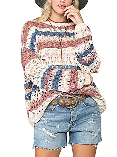 Dazzerake Suéter de Las Mujeres Jersey Informal Holgado con Cuello Redondo Top de Punto de Manga Larga con Estampado de Rayas Sudadera con Capucha Otoño y Primavera (Rojo Claro, S)