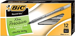 BIC Round Stic Xtra Precision Ball Pen, Fine Point (0.8 mm), Black, 24-Count