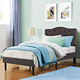 VECELO Classic Upholstered Platform Bed Diamond Stitched Cloth Panel Headboard/Mattress Foundation/Easy...