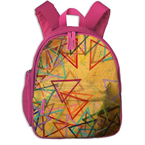 XCNGG Kids Backpack 3D Psychedelic Geometric Triangle Abstract Preschool Kindergarten Bags Rucksack Casual Daypack for Children Toddler Girls Boys Pink