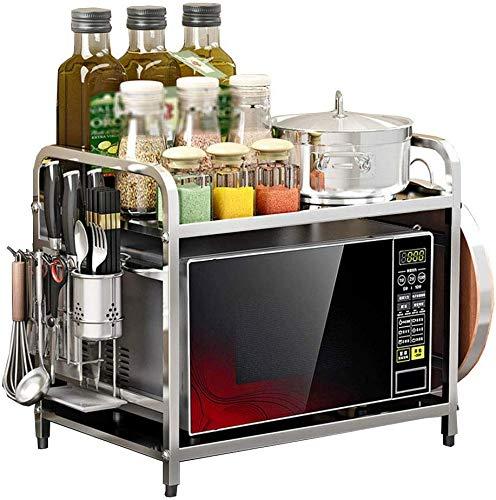 KOSGK Estante de cocina para el hogar, de acero inoxidable, sin perforaciones, tipo 2 capas, para horno, microondas, tabla de cortar, estante de almacenamiento de cocina (plata)