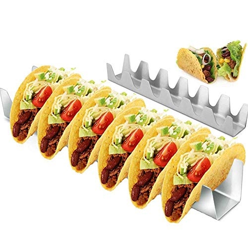 XPSD Taco Rack 6 Holds Taco Holder Stainless Steel Taco Rack Shell Taco Display Stand Burrito Tortilla Plate Tray Food Holder Rack Shell