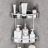 Gricol Mensola angolare per doccia ad angolo senza foratura, in alluminio, con 2 ganci, per cucina, bagno, argento
