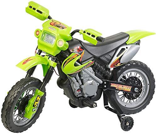 Playtastic Motorrad: Kinder-Elektromotorrad mit Stützrädern, Licht- & Sound-Effekte, 3 km/h (Elektrofahrzeug)