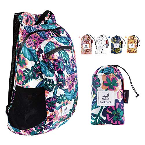 Ozaeo Lightweight Foldable Daypack, Water Resistant Hiking Backpack for Women and Men, Ultralight Packable Backpack for Outdoor Travel Camping (Flower Colorful 16L)