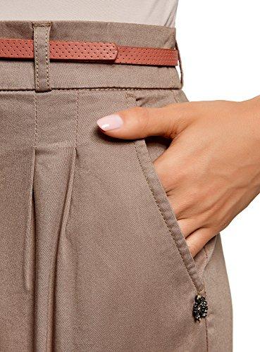 oodji Ultra Mujer Falda Corta de Algodón con Cinturón, Marrón, ES 36 / XS