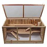 bonsport XXL Kleintierkäfig Hamsterkäfig aus Holz - Meerschweinchen Käfig, 95 x 50 x 51 cm