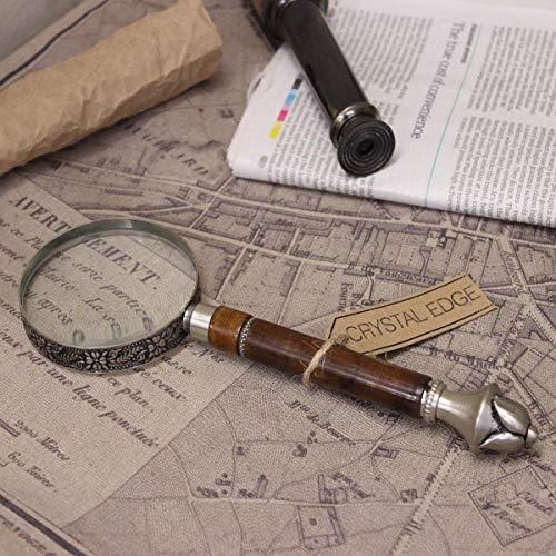 Antiguo Vintage Lupa Peltre Filigrana Mango Mapa Náutico Regalo