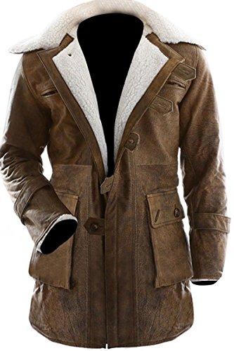 Men's Shearling Coat Brown Swedish Bomber Genuine Leather Jacket (XL)