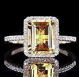 pimchanok shop Fashion Women Jewelry 925 Silver Citrine Wedding Jewelry Ring Gift Size 6-10 (6, Yellow)
