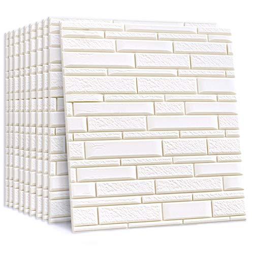 Yoillione 3D壁紙 レンガシール 10枚セット 立体 壁紙シート 子供ぶつかり防止 クッション リビング トイレ用 リメイクシート ホワイト 大理石