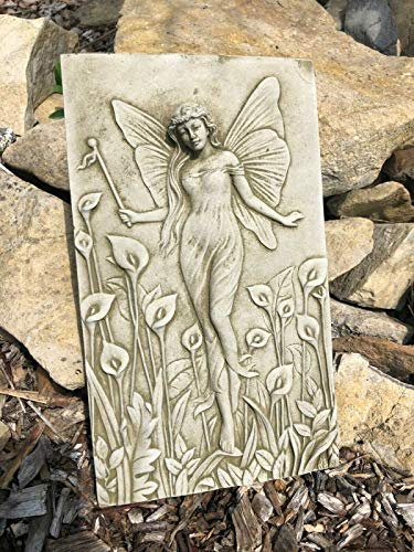 Lily Lady Stone Plaque Statue | UK Vintage Angel Fairy Garden Outdoor Ornament