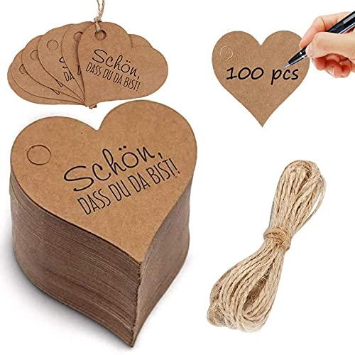 Etiquetas de regalo de corazón 100 piezas Etiquetas de regalo Que bueno que estés aquí Etiquetas de etiquetas de papel kraft Etiquetas colgantes boda Con cordón de yute de 10 m para regalos de boda