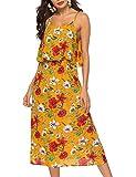 Acramy Abito estivo da donna, stile boho, senza maniche, con fiori, in chiffon, giallo., M