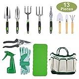 Crenova 10-teiliges Gartenwerkzeug-Set - Gartengeräte, Gartenschere, Gartenhandschuhe, Gartentasche, kniendes Pad und Garten-Sprüher.
