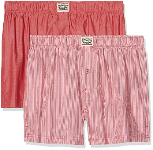 Levi's Herren Boxershorts Levis 300LS Striped Chambray Woven Boxer 2P, 2er Pack, Rot (red), Large