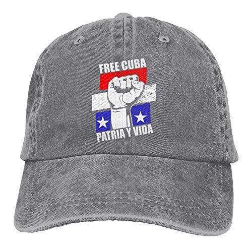 Leumius Free Cuba Fist Patria Y Vida - Gorra de béisbol ajustable, gorra vaquera, lavable para hombre y mujer, gris, 7 / 7 1/8