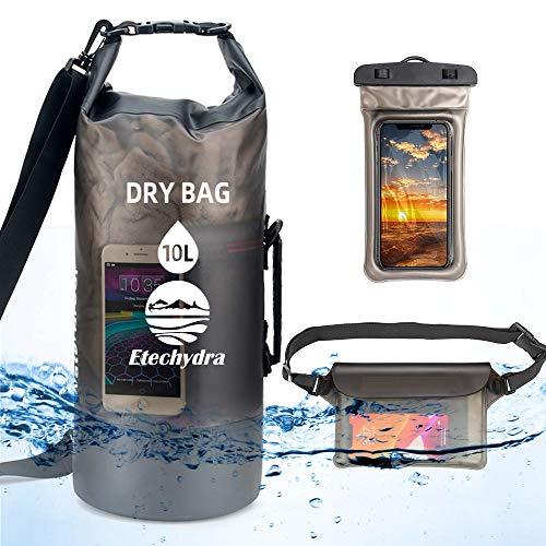 Etechydra Dry Bag 10L - Zaino Impermeabile con Tracolla, Custodia per Cellulare Impermeabile + Borsa, Borsa Impermeabile, Borsa Zaino per attività all'aperto, Nero