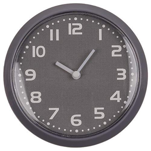 CN Fridge Clock Kitchen Clock Magnetic Mini Round Mirror Clock Wall Clock Bathroom Bookshelf Analogue Clock with Magnet 8 cm (Grey)