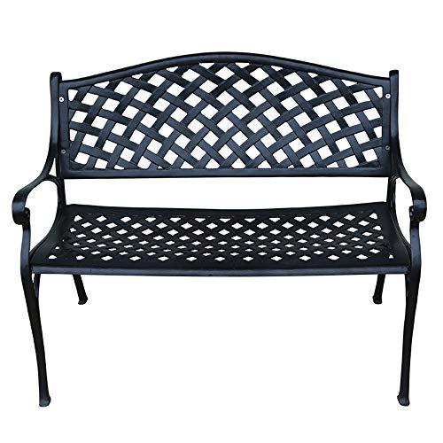 Stool child Gartenbank Parkstühle, Metallbank mit Rückenlehne im Hof, Sitzplatz für 2 Personen Liegestuhl aus Aluminiumguss Kann für Balkon/Flur/Terrasse verwendet Werden