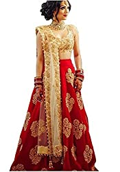 Prasha Fashion Womens RedTaffeta Silk Embroidered Lehenga Choli Free Size (Red Diamond)