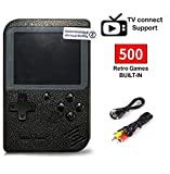 SeeKool Handheld Spielkonsole, 500 Klassische Spielen 3-Zoll-LCD-Bildschirm tragbare Gameboy FC System, Retro-Videospielkonsole Unterstützt TV-Anschluss, Geschenke für Kinder (Black)