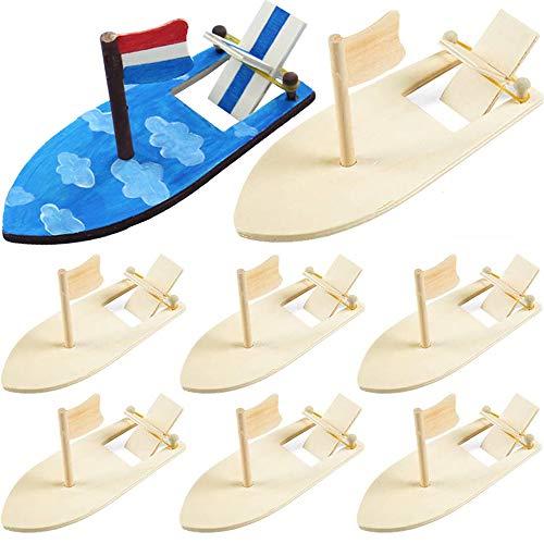 Barca a Vela in Legno Fai-da-Te, 8 Pezzi Nave per Bambini in Legno Fai-da-Te, Mini Barche a Vela, Modelli di Barche a Vela, Usate per Fai-da-Te, Intrattenimento per Bambini, Intrattenimento Acquatico