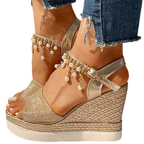 HYWL Zeppa Sandali Donne con Tacco Pantofole Donna Estive da Casa Sandali Donna Eleganti Tacco Blocco Ciabatte Donna Piscina Alte Scarpe da Spiaggia Flip Flops,d'oro,38