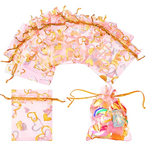 200 Pieces 2.8 x 3.6 Inch  7 x 9 cm Sheer Heart Printed Organza Bags Drawstring Jewelry Pouch Favors Candy Bags for Wedding Party Christmas Valentine s Day Baby Shower (Light Pink)