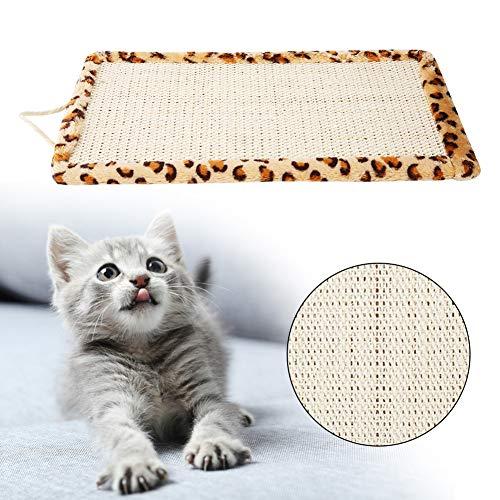 Alfombrilla de dormir para gatos con diseño de leopardo, de sisal para colgar en el suelo, para gatos y gatitos, para proteger muebles (estampado de leopardo)