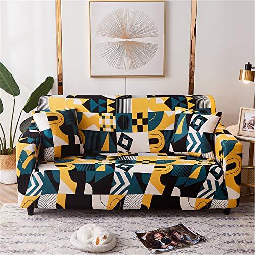 Surwin Funda de Sofá Elástica para Sofá de 1 2 3 4 plazas, Geométrico Universal Cubierta de Sofá Cubre Sofá Funda Furniture Protector Antideslizante Sofa Couch Cover (Amarillo,2 plazas - 145-185cm)