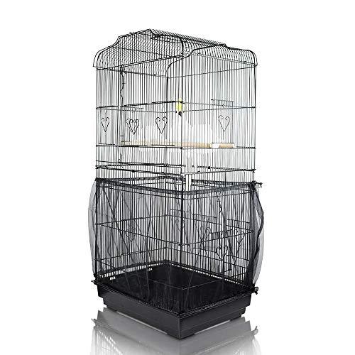 ASOCEA Jaula para pájaros extragrande Semillas Colector de semillas Falda de protección Jaula para pájaros Red de nylon Red para loros Perico Loro - Negro (No incluye la jaula para pájaros)