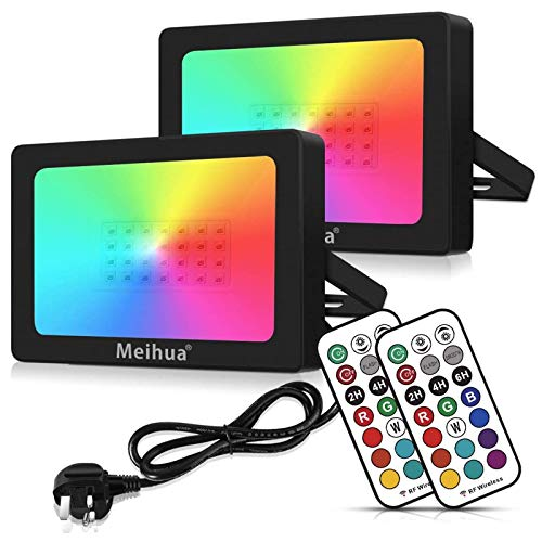 MEIHUA 35W RGB Flood Lights Outdoor Garden Lights 360 Degree RF Remote Control Auto Timer Color Changing Led Flood Lights for Christmas Halloween Outdoor Stage Lights Pond Gazebo Light Pack of 2