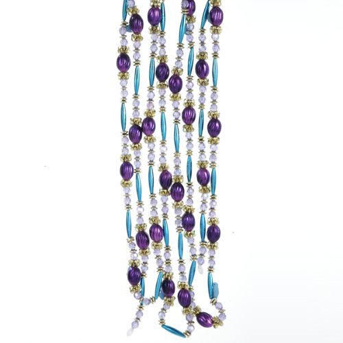 Kurt Adler 9' Regal Peacock Purple, Turquoise and Gold Beaded Christmas Garland