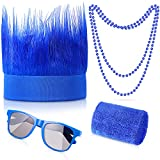 Blue Hairy Headband Set Sweatbands Headband Wristbands 80'S Retro Sunglasses Necklace for Adults Cheer Sports, Games, Parties, Celebrations, Performances
